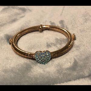 Jewelry - Costume gold bangle with rhinestone hearts